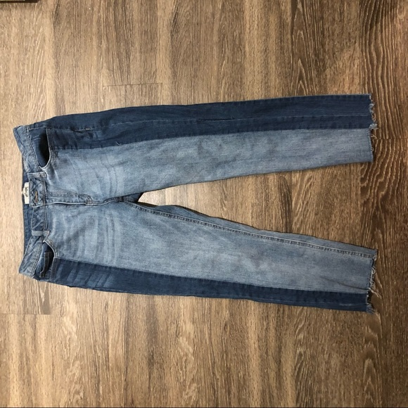 Denim - Two Tone Colorblock Ankle Jeans